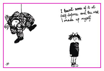 Jacky Fleming Postcard - Self defence