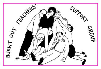 Jacky Fleming Postcard - burt out teachers
