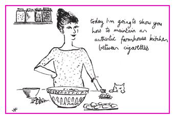 Jacky Fleming Postcard - farmhouse kitchen