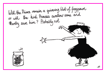 Jacky Fleming Postcard - princess and frogspawn